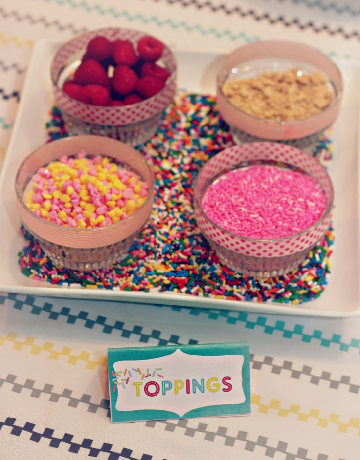 Sprinkle Baby Shower: DIY CUPCAKE BAR-this could be a good alternative to ice cream if we think it'll melt @Carrie Hourigan @Carly Podzikowski @Kate Smith