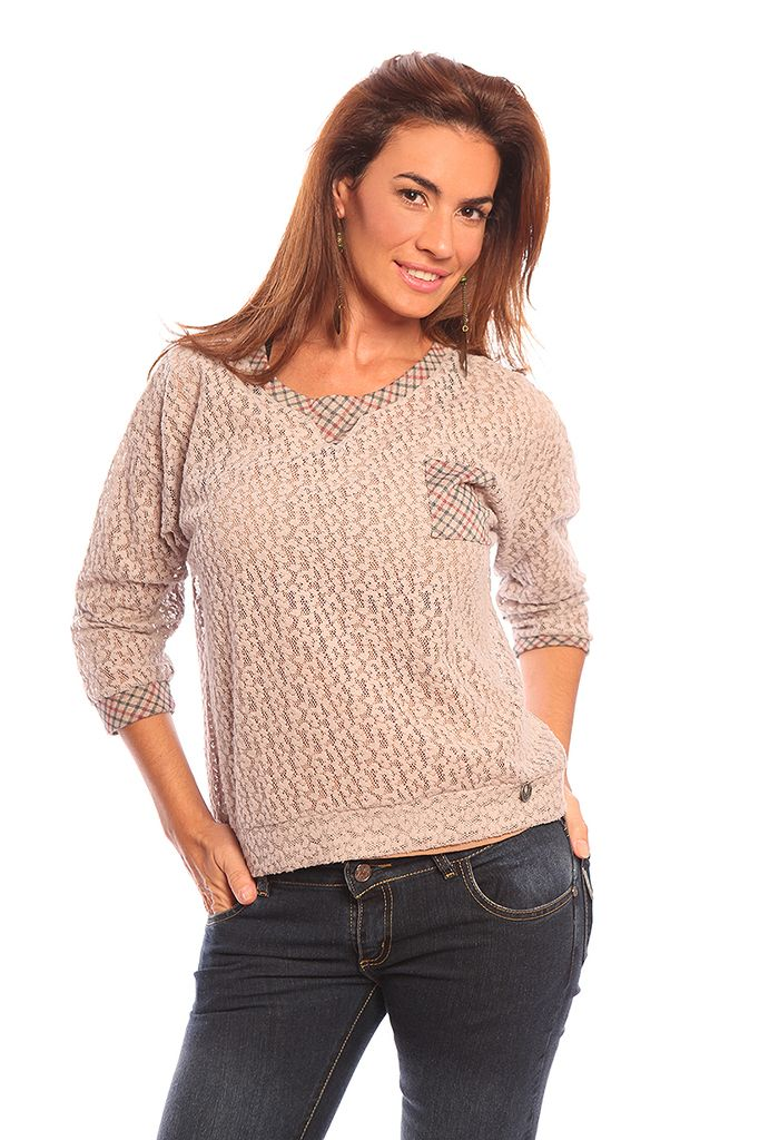 035006 Sweater Encaje Combinado Escoces — Valdivia