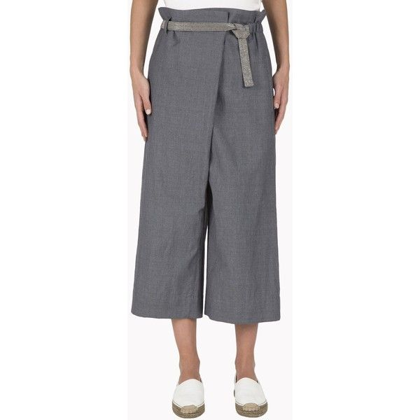 Brunello Cucinelli Casual Trouser (€1.070) ❤ liked on Polyvore featuring pants, capris, medium grey, grey pants, shiny pants, gray pants, cropped capri pants and wide leg cropped pants