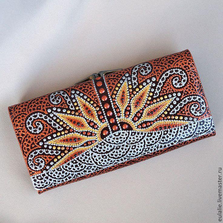 """Купить Кошелек женский """"Пустынный цветок"""" - рыжий, орнамент, кошелек женский, бирюза, кошелек из кожи"""