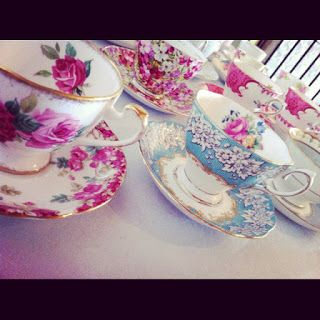 pretty fancy vintage china all lined up