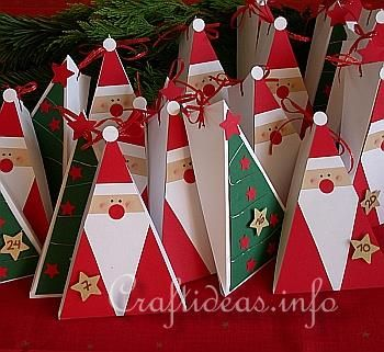 Free Christmas Crafts - Paper Crafts - Santa Claus Gift Box- may modify to make as cards/Christmas ornaments. Definitely will make these with the residents.