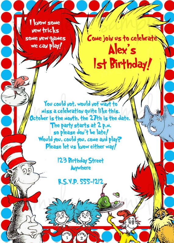 112 best dr • seuss images on pinterest | birthday party, Birthday invitations