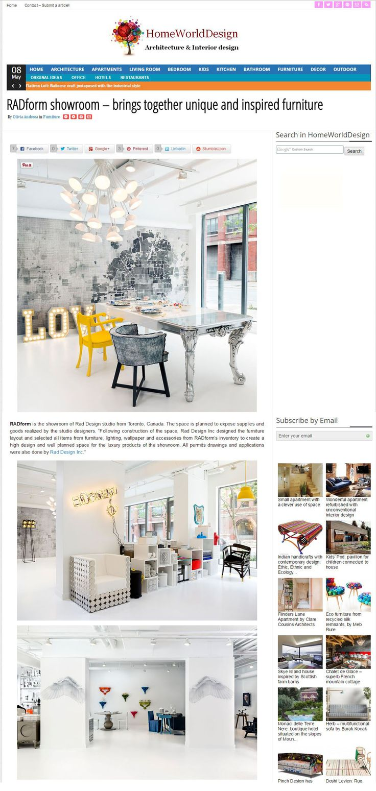 "HomeWorldDesign: ""RADform showroom – brings together unique and inspired furniture"" by Olivia Andreea. Read the full article here: http://homeworlddesign.com/radform-showroom-furniture/ #RADform #press #media #interiordesign #furnitureshowroom #luxury #europeanfurniture"