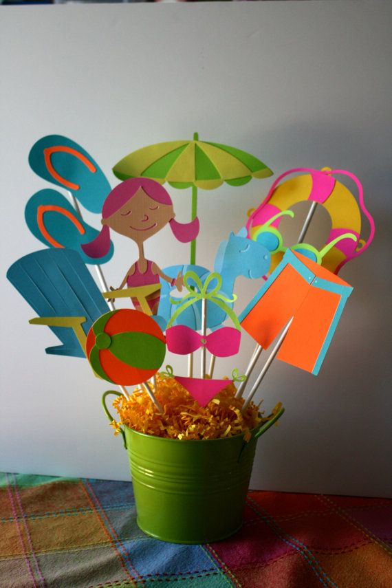 Playa Fiesta centro de mesa fiesta en la por HandmadecardsbyHJM