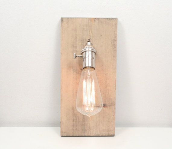 Wooden Wall Sconce- Rustic Wall Sconce, Gray Wash, Exposed Edison Bulb Lighting, Rustic Night Light