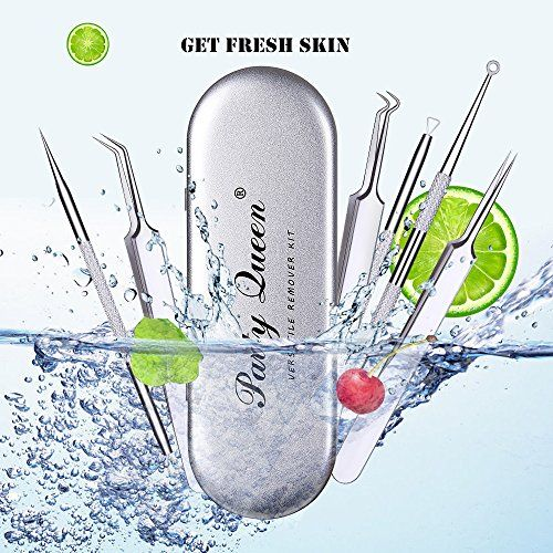 Party Queen Blackhead Remover Set 6 Pcs Acne Tweezer Removal Kit Extractor Treatment Tool for Pimple Comedone Blemish Whitehead Popping:   【6-In-1 Multi-Function Kit】: Easily help to remove black&whitehead, acne, ingrown hairs and various blemishes. Complete your daily facial clean without redness or scar and needn't cost so much in a beauty salon anymore.  【Surgical Grade Stainless Steel】: Made of stainless steel with antibacterial coating helps to minimize the risk of bacterial infec...