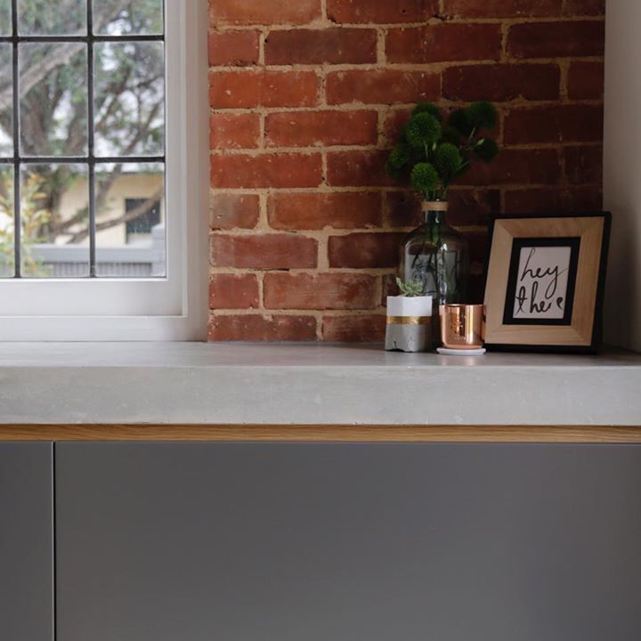 Completed project at Unley Park. #kitchen #neolith #stefanvignogna #interiordesign #interiors #design #work #rosegold #timber #concrete #joinery #retro #industrial #exposedbrick #marble