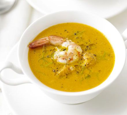 Made this prawn and fennel bisque for a starter at a friend's dinner party. We used pre-cooked prawns and omitted the brandy. A lot of work, but a super delicious result. Special occassion stuff.