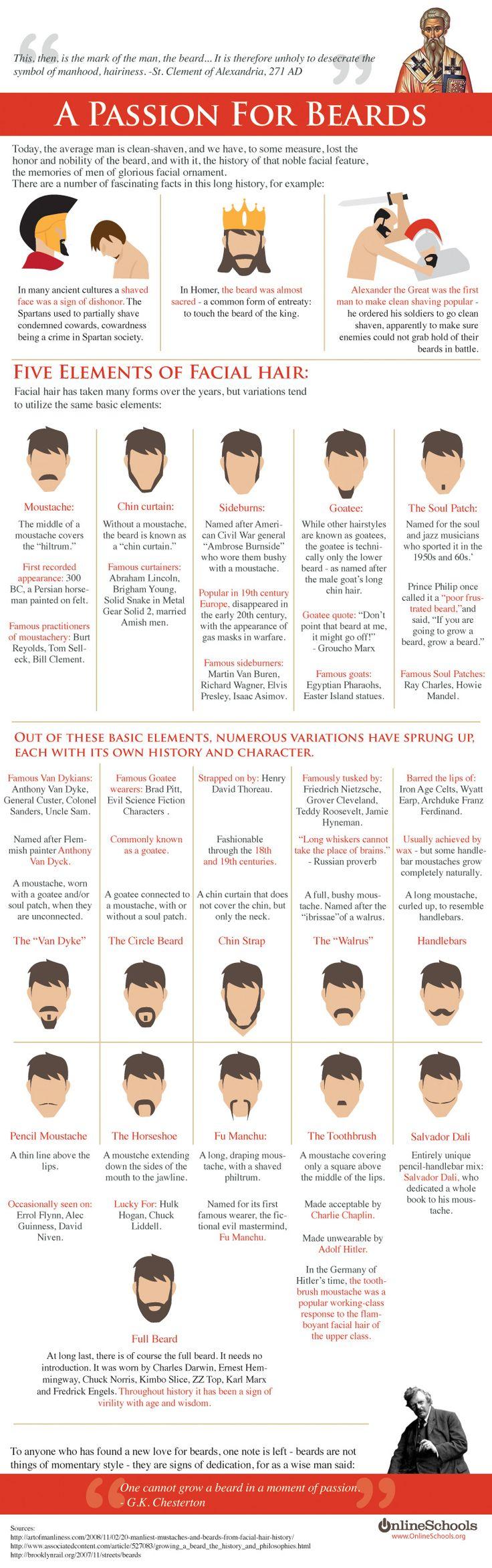 Nifty guide to facial hair.