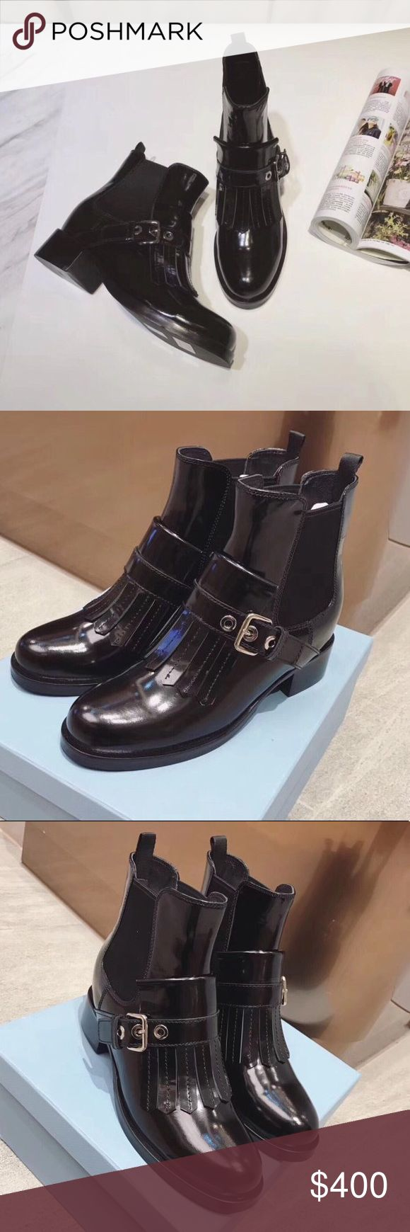 NEW Prada Tassel Boots Brand new. No box. Patent leather. Prada Shoes Ankle Boots & Booties