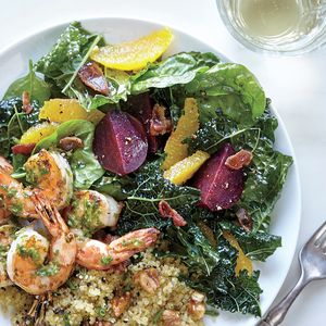 Kale and Spinach Salad with Beets and Roasted Garlic-Citrus Vinaigrette | MyRecipes.com Filling half the plate with plants isn't as hard as you think. We make it easier with salty, crispy bacon--one piece is all it takes to elevate this bountiful bowl of fruits and vegetables.