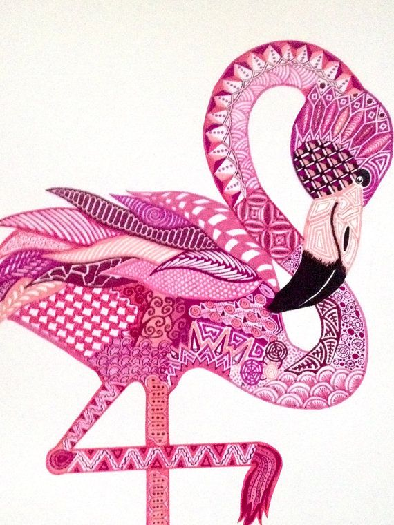 Zentangle Flamingo Art Print Lovely addition to any nursery or child/teens room! 8.5 x 11 inch color print of the original Rhapsody in Pink (Roseus) illustration done in pen and ink, and markers 80# acid free card stock Packaged in a clear, plastic, sealed envelope with backing
