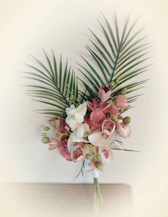 Tropical Wedding Bouquet Orchid Bouquets Palm Leaves