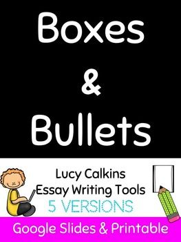 *5 Versions of Lucy Calkins Essay Writing Strategy: Boxes and Bullets*Google Slides are editable, printable, shareable, and make collaborating a breeze!*Fits with intermediate and middle school curriculums*Graphic organizers are great for students who need help with organization, handwriting, and expressing themselves through writing*Created by a special education teacher for students with autism and executive functioning needs