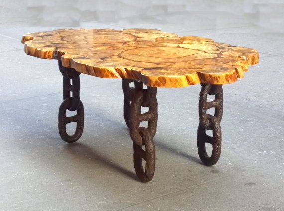 Unique Salvaged Banyan Trunk Wood Slice Coffee Table w/Boat Anchor Chain Legs