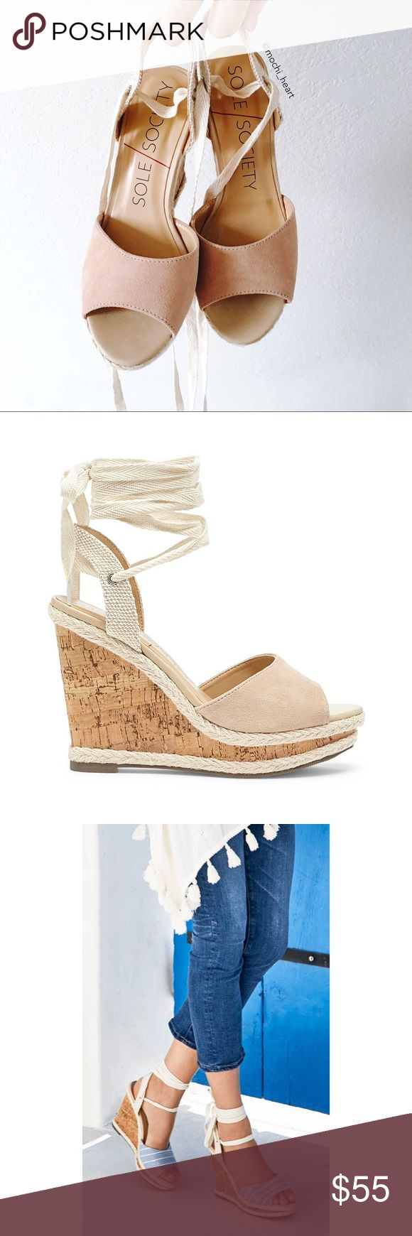 """Sole Society • light camel espadrille wedge Adorable lace-up espadrille wedges in a neutral suede. Definitely a staple for summer or comfortable to wear on your next vacation. Features wraparound ankle straps and 4"""" wedge. Sole Society Shoes Wedges"""