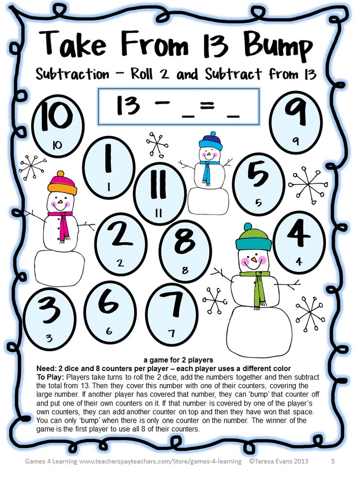 FREEBIE - Snowman Math Bump Games Freebie from Games 4 Learning gives you 4 Snowman Math Board Games that are perfect for winter or Christmas math activities.