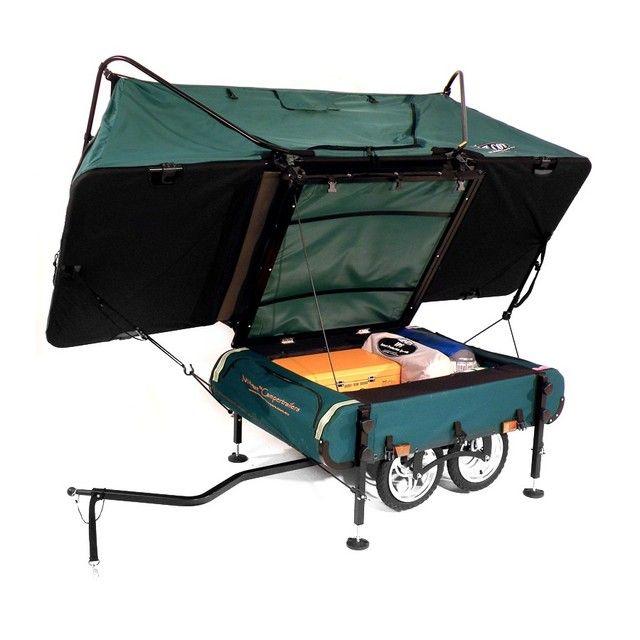Desire This   Kamp-Rite Midget Bushtrekka Bicycle Camper Trailer with Oversize Tent Cot