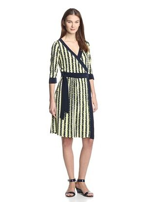 70% OFF Melissa Masse Women's Classic V-Neck Wrap Dress (Citron Navy Seeds)