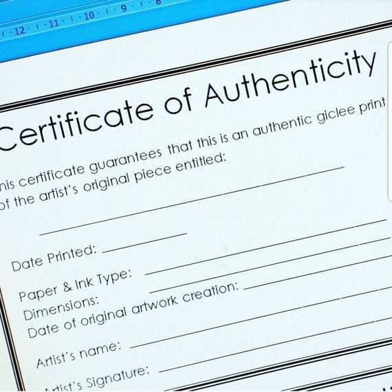 Modern Certificate Of Authenticity Template For Artists For Fine Art Prints Open Edition A4 Size Plus Letter Size For Usa Artists In 2021 Fine Art Giclee Prints Lettering Fine Art Prints