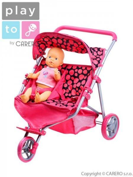 Športový kočiarik pre 2 bábiky PlayTo Klaudie ružový Ružová