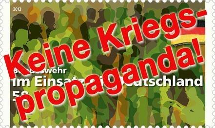 Wie dreist: Kriegspropaganda auf deutschen Briefmarken. Hier Online-Petition gegen Militärwerbung unterschreiben: https://www.openpetition.de/petition/online/militaermarke-zurueckziehen-briefmarken-sind-weit-mehr-als-reine-postwertzeichen