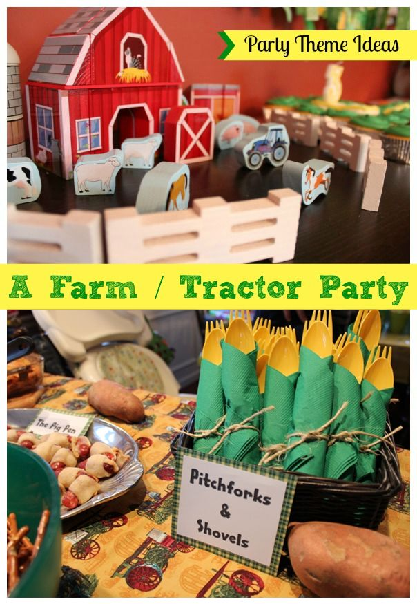 Party Theme Ideas: Tips for Hosting a Farm / Tractor Birthday Party for Kids - Recipes, Games and More *Loving this pitch fork and shovels idea! Too funny.