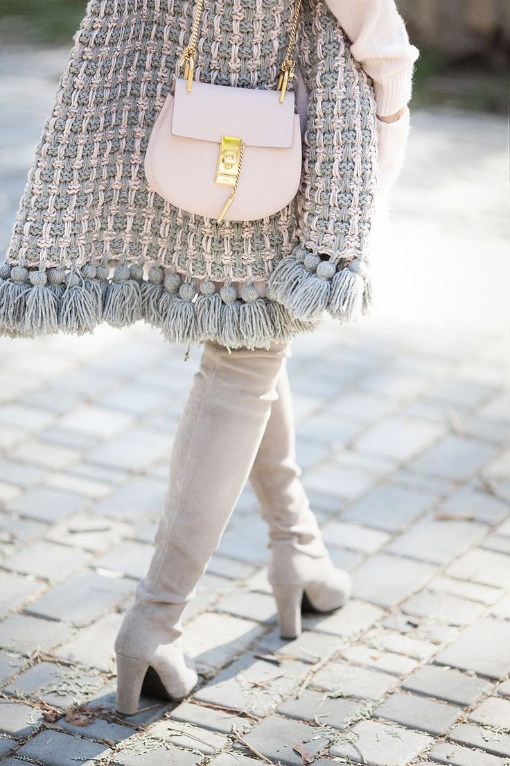 chloe drew bag | over the knee boots - Stuart Weitzman | knitted poncho 711 with pom pom
