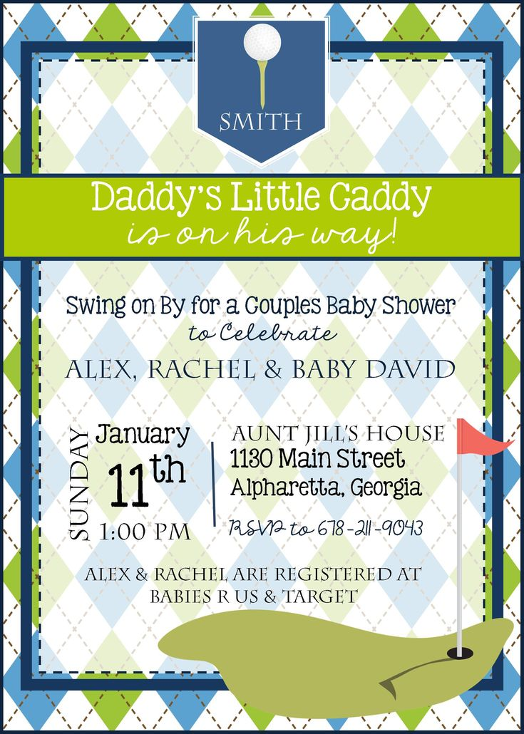 Golf Baby Shower Invitation - Golf Baby Sprinkle Invitation - Daddy's Little Caddy - Golf Theme - Customize - Printable - 5x7 - Baby Boy