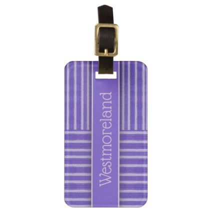Purple Striped Pattern | Add Name Bag Tag - patterns pattern special unique design gift idea diy