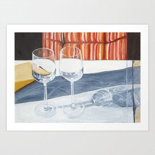 Two glasses www.artoutloop.com #glasses, #reflections, #oil, #painting, #art