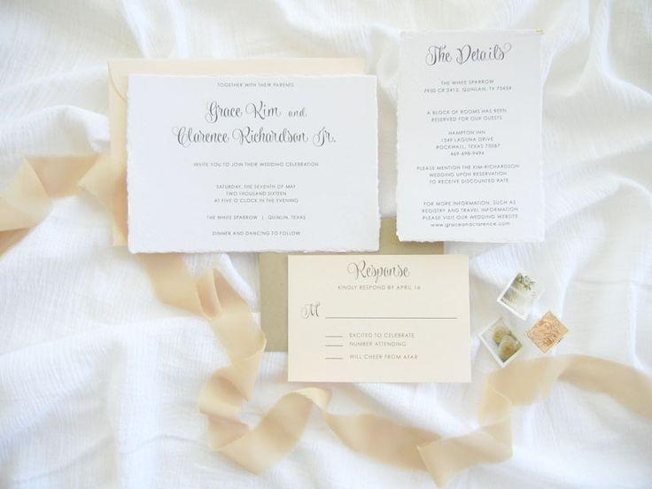 Classic, Natural Style | Handmade Paper | Organic Wedding Invitations