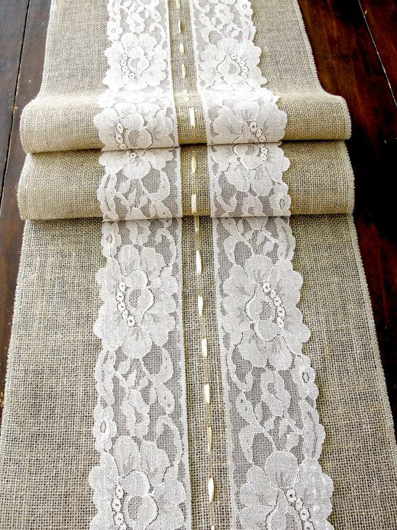 Burlap+table+runner+with+cream+lace+wedding+