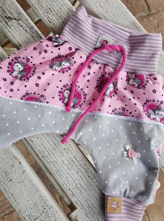Bloomers Unicorns pink gray dots wish size