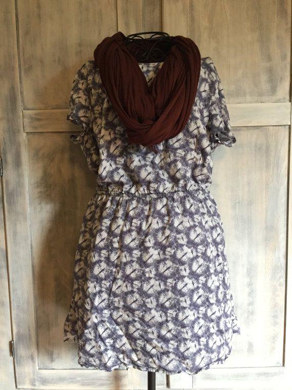 Blue and White Dandelion Boho Dress with by VintageNerdBoutique