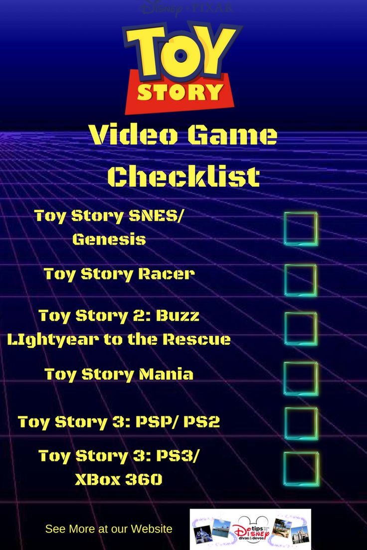 Checklist for the top favorite Toy Story Games / Toy Story Video Games Ranked from Worst to Best