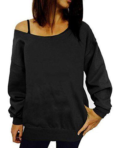 e5d4381e8d647b lymanchi Damen Off Shoulder Sweatshirt Brief Drucken Slouchy Langarm  Pullover Top Shirt