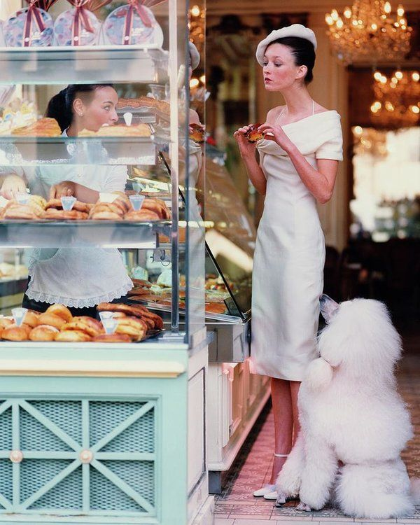 Audrey Marnay At A Patisserie With A Poodle Artwork Print by Arthur Elgort