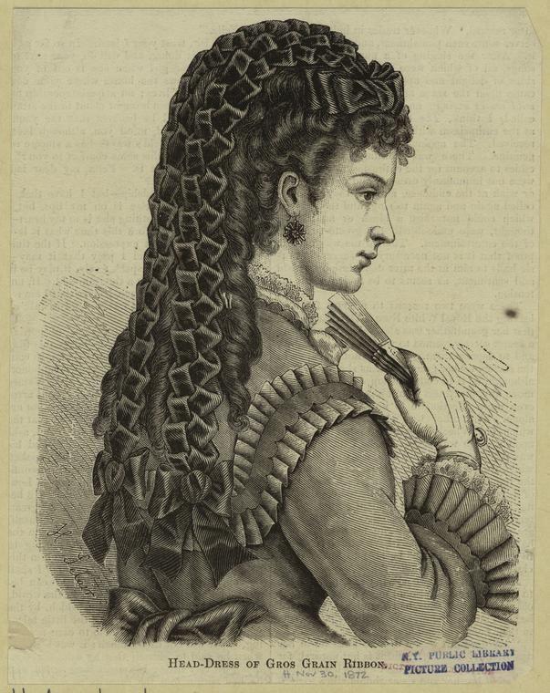 Head-dress of gros grain ribbon. 1872