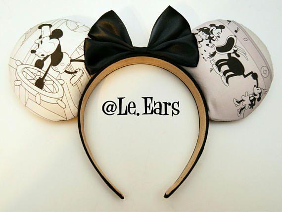"""STEAMBOAT WILLIE"" Minnie Mouse Disney Ears  #SteamboatWillie #Disney #Disneyland #DisneyWorld #WDW #DisneyHeadband #Minnie #MinnieMouse #Mickey #MickeyMouse #DIY #DiyMouseEars #MouseEars"