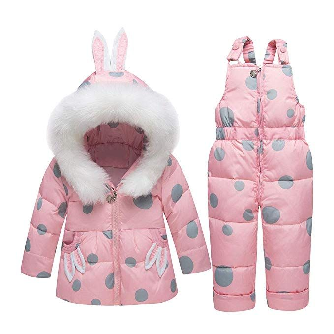 d8c1330a8305 YFCH Baby Girls Boys 2-Piece Snow Bib Pants and Ski Suit Jacket ...