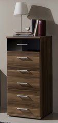 MULBERRY 6 Drawers Black and Walnut Narrow Chest Of Drawers