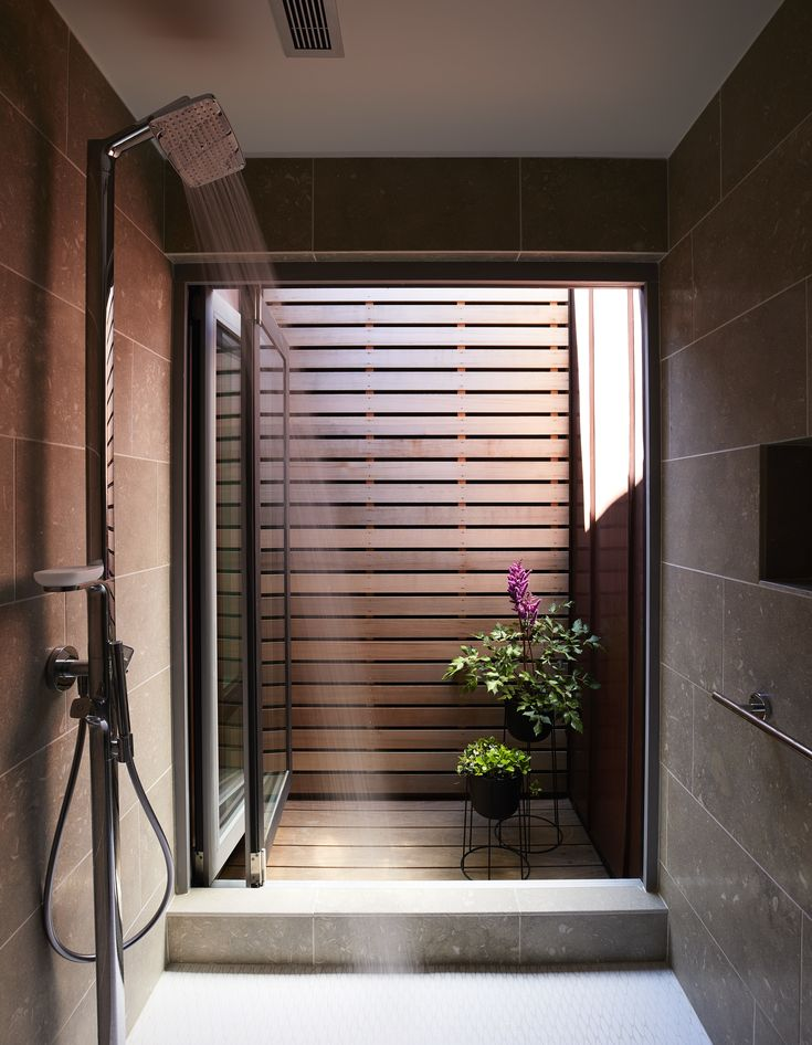 outdoor bathroom vent cover%0A A courtyard off the master bath acts as a solar chimney  drawing in cool air