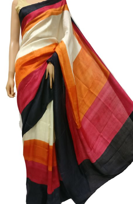 Multicolor Handloom Block Printed Murshidabad Silk Saree