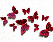 3d Butterfly wall art - Black and Red Wall art - Paper butterflies - Butterfly wall stickers - butterfly printable - Wall art for nursery