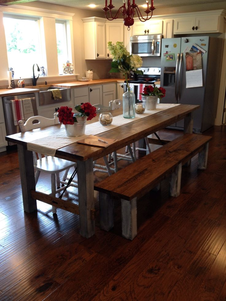 17 Best Ideas About Farmhouse Kitchen Tables On Pinterest Dining Table Redo