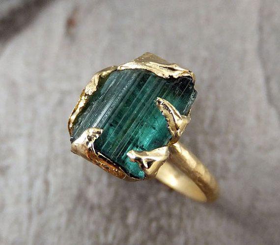 Raw Blue Green Tourmaline Gold Ring Rough Uncut Gemstone  tourmaline recycled 14k Size 6 1/4 stacking cocktail statement byAngeline