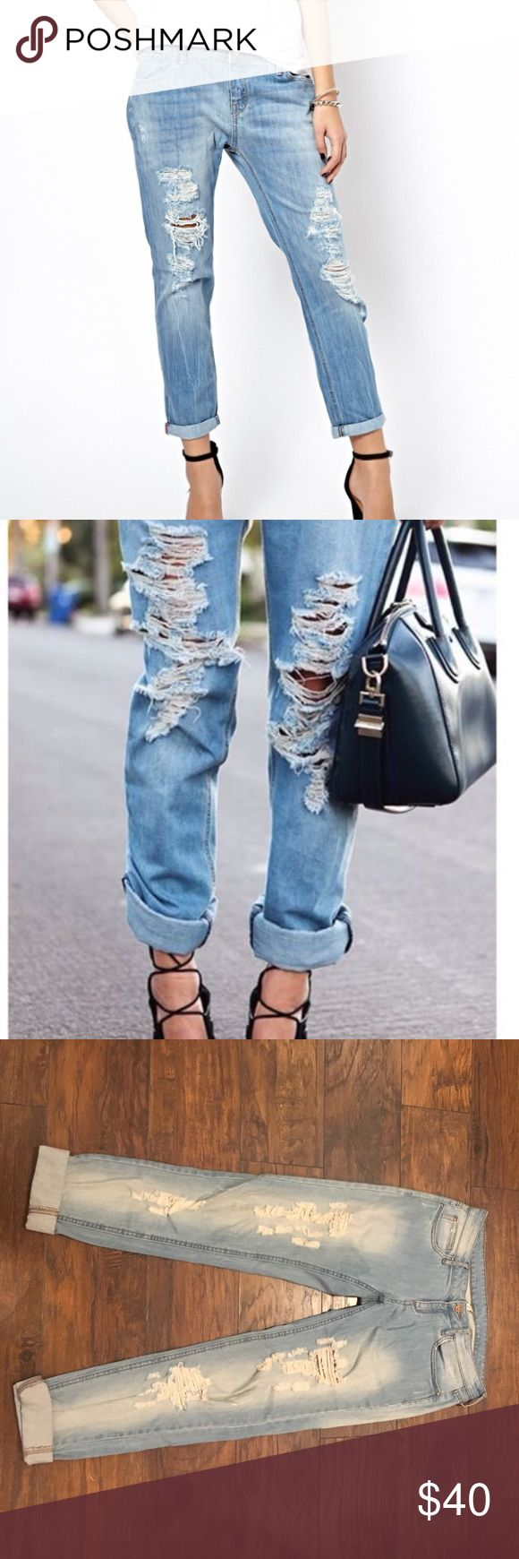 "Mango light wash ripped jeans! NWOT. New never been worn. Mango jeans. Light washed ripped. Size 6. 25 and 1/2"" cuffed; uncuffed 30"" inseam. So trendy! Any questions lmk! Mango Jeans Ankle & Cropped"