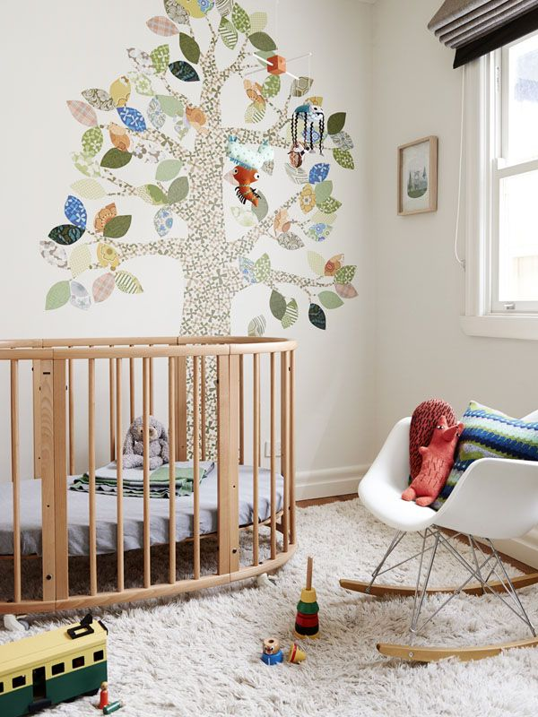 The cheery tree in this nursery caught our eye. Such pretty patterns!